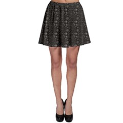 Black Pirate Pattern Sketch Cartoon Skater Skirt