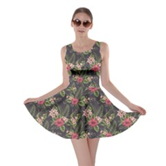 Colorful Tropical Floral Pattern Plumeria Hibiscus Flowers Skater Dress