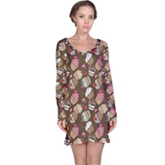 Colorful Pattern Of Tasty Cupcakes Long Sleeve Nightdress