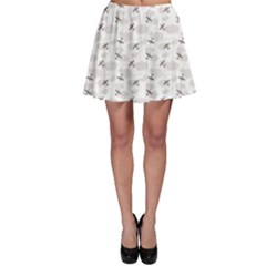 Gray Pattern Airplanes in the Clouds Skater Skirt