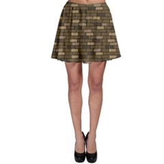 Brown Brick Wall Pattern Cracks Skater Skirt