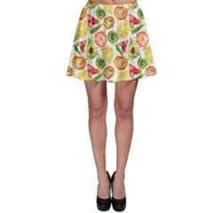 Colorful Fruits Watercolor Pattern Skater Skirt