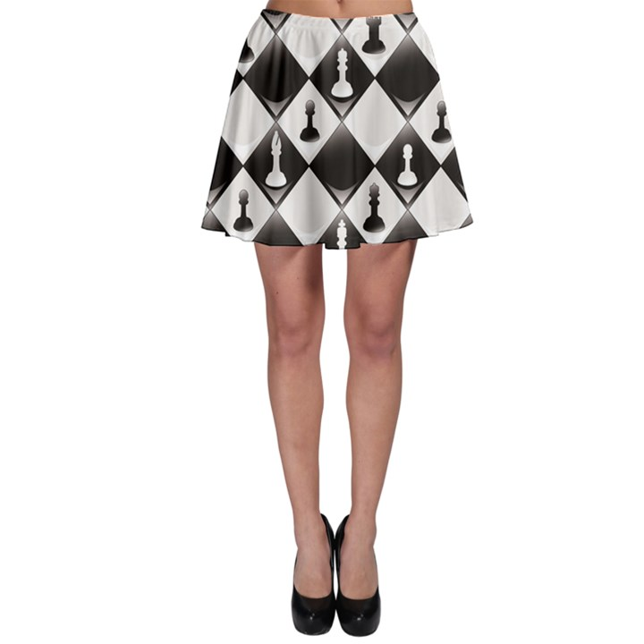 Black A ly Repeatable Glossy Chessboard Chess Pieces Skater Skirt