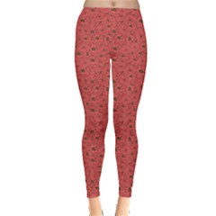 Red Floral Pattern Doodle Poppies Old Style Crown Leggings