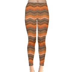 Orange Abstract Geometric Pattern Leggings