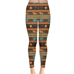 Colorful Ethnic African Abstract Geometric Pattern Leggings