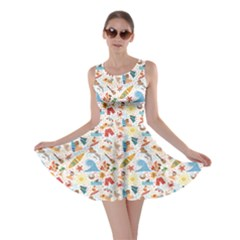 Colorful Surfing Vacation And Tropical Beach Pattern Skater Dress