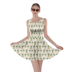 Yellow Tropical Pattern Palm Branches and Pineapples Skater Dress