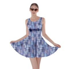 Blue Blue Pattern Abstract Christmas Trees Skater Dress