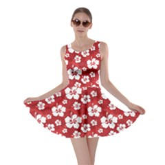 Red Pattern Hibiscus Flowers On Red Skater Dress