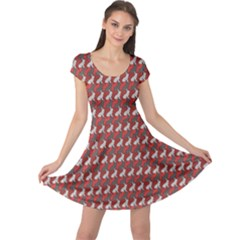 Red A Colorful Polygonal Rabbit Pattern Cap Sleeve Dress