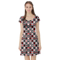 Red Black And White Checkered Pattern Red Hearts Pattern Short Sleeve Skater Dress