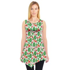 Green Vegetable Pattern Sleeveless Tunic Top