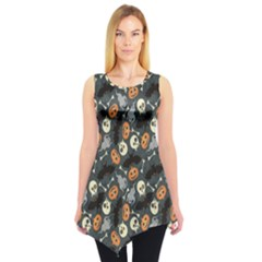 Colorful Halloween Pattern With Pumkins Bats And Skulls Sleeveless Tunic Top
