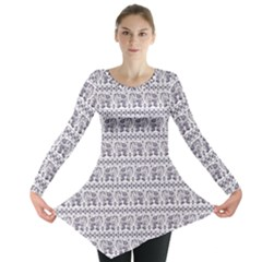 Purple Ethnic Vintage Elephant Business Long Sleeve Tunic Top