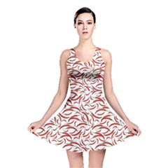 Red Vegetable Organic Food Red Chili Pepper Pattern Reversible Skater Dress