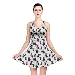 Gray Cartoon Cats Black Silhouettes with White Reversible Skater Dress