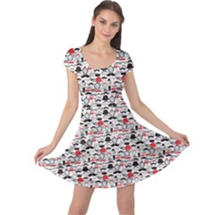 Black Retro Vintage Pattern Cap Sleeve Dress