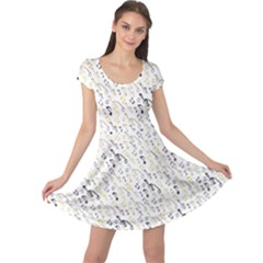 Gray Wallpaper With Music Notes Cap Sleeve Dress