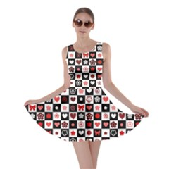Brown Black And White Checkered Pattern With Red Hearts Seamless Skater Dress