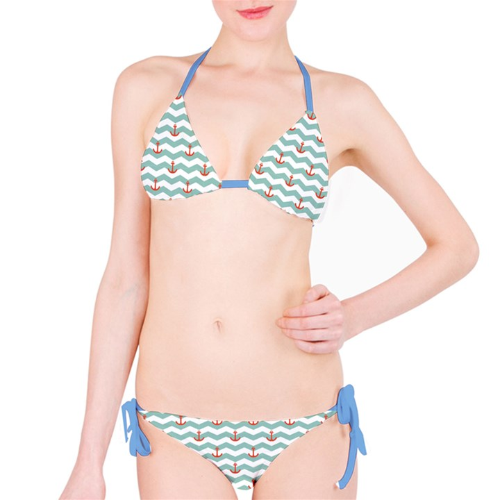Blue Sailor Tile Pattern with Red Anchor on A White and Blue Bikini Set