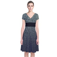 Tweed Short Sleeve Front Wrap Dress