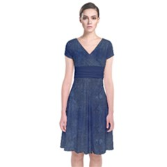 Denim Blue Short Sleeve Front Wrap Dress