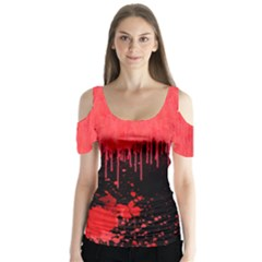 Bloody 2 Halloween V2 Butterfly Sleeve Cutout Tee