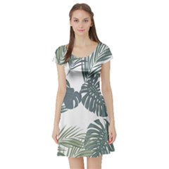 Palm Tree Short Sleeve Skater Dress
