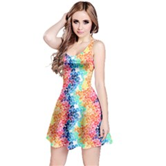 Colorful 4 Rainbow Petals Sleeveless Skater Dress