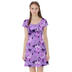 Lavendar Roses Vintage Floral Short Sleeve Dress