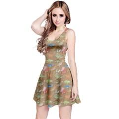 Mocha Dinosaur Stylish Pattern Sleeveless Skater Dress