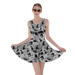 Gray Cats in Action Pattern Skater Dress