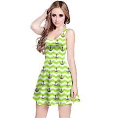 Neon Green Sailor Tile Pattern with Anchor on Sleeveless Skater Dress