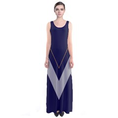 Navy Chevron Sleeveless Maxi Dress