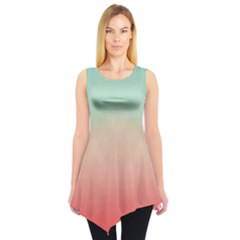 Mint & Orange Gradient Tie Dye Tunic Top