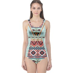 Mint Tribal Cut Out One Piece Swimsuit
