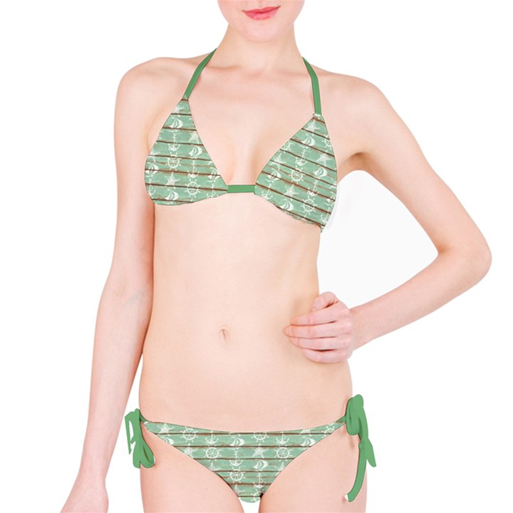 Green Old Boards of Ship Deck Pattern Painted By Anchor Wheel Bikini Set