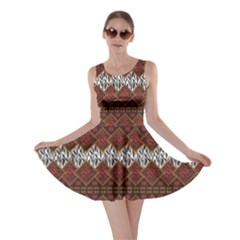 Brown African Style With Wild Animal Skin Pattern Skater Dress