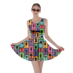 Colorful Colorful Pattern with Silhouettes of Cocktails and Drinks Skater Dress