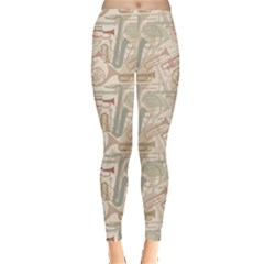Gray Music Instruments Pattern Musical Instrument Silhouette Women s Leggings