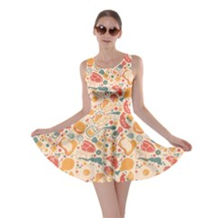 Colorful Food Pattern Suitable for Food Packaging Skater Dress
