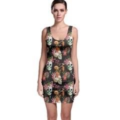 Colorful Beautiful Pattern with Nice Watercolor Skull and Flowers Bodycon Dress