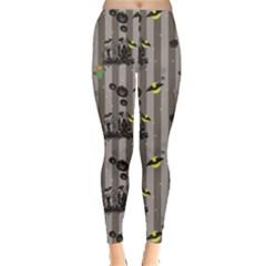 Gray Halloween Pattern With A Pumpkin Spider Scarecrow Women s Leggings