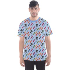 Blue Vacation Pattern with Surfboards Men s Sport Mesh Tee