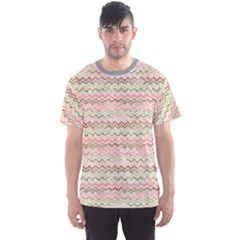 Yellow Colorful Stripes Zigzag Pattern  Men s Sport Mesh Tee