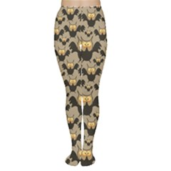 Brown Pattern With Owl Women s Tights