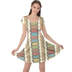 Colorful Ethnic African Beads Color Pattern Cap Sleeve Dress