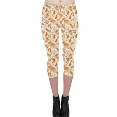Colorful Watercolor Pattern with Insects Bees and Butterflies Capri Leggings