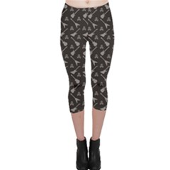 Black Pattern with Electric Guitar Silhouettes And Capri Leggings